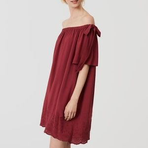 LOFT Embroidered Off The Shoulders Dress
